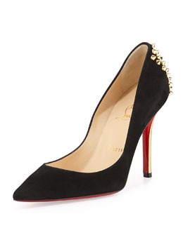 Christian Louboutin Zappa Suede Spiked-Heel Red Sole Pump, Black/Gold