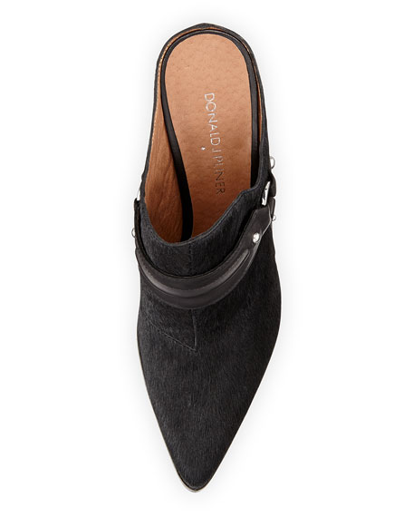 Vero Slip-On Calf Hair Mule, Black/Olive