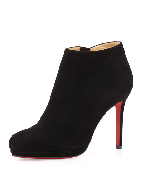 Bella Suede Red Sole Ankle Boot, Black