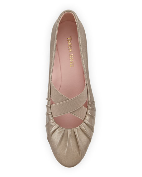 Florine Leather Crisscross Flat, Quartz
