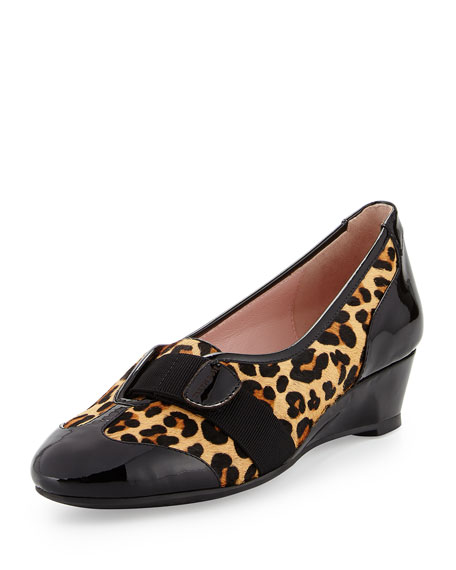Taryn Rose Platz Traveler Leopard-Print Wedge, Natural/Black