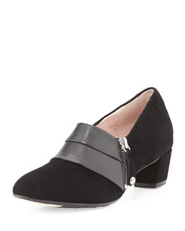 Taryn Rose Fabian Side-Zip Suede Ankle Bootie, Black