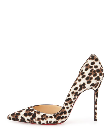 Iriza Calf Hair d'Orsay Red Sole Pump, Leopard/White