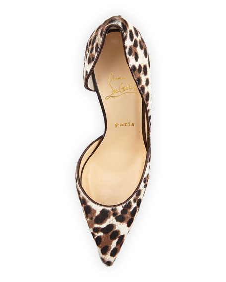 new product 7f009 0ac92 Iriza Calf Hair d'Orsay Red Sole Pump Leopard/White