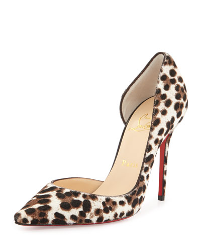 Christian Louboutin Iriza Calf Hair d'Orsay Red Sole Pump, Leopard/White