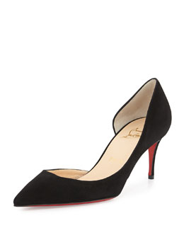 Christian Louboutin Iriza Red-Sole Half-d'Orsay Pump, Black