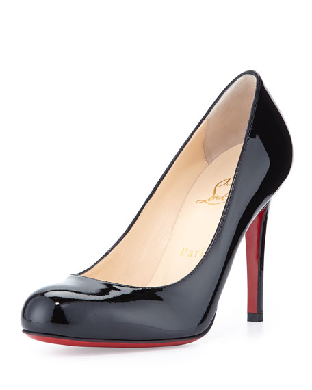 Simple Patent Red Sole Pump, Black