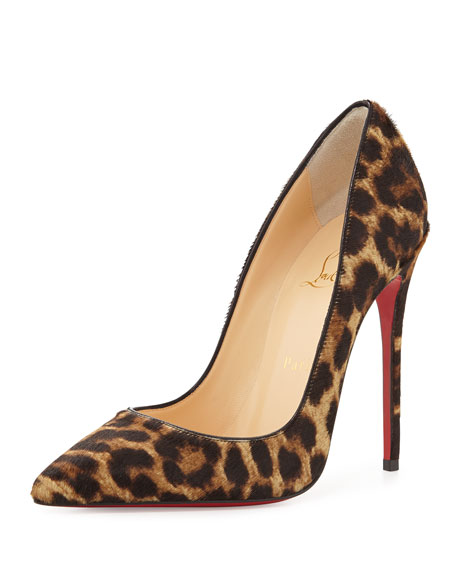 So Kate Calf Hair Red Sole Pump, Leopard/Black