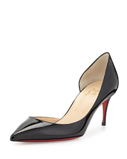 Christian Louboutin Iriza Patent Red-Sole Half-d'Orsay Pump, Black