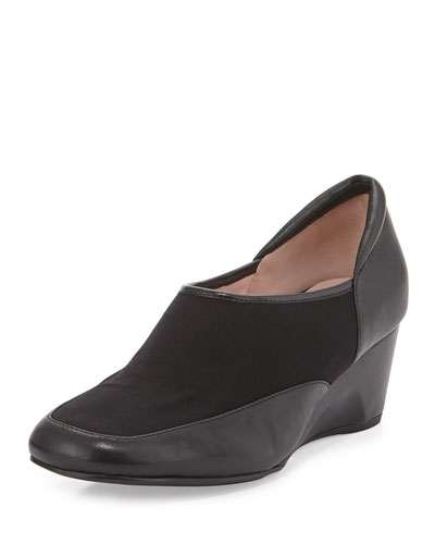 Taryn Rose Radnor Stretch-Front Demi-Wedge Slip-On, Black