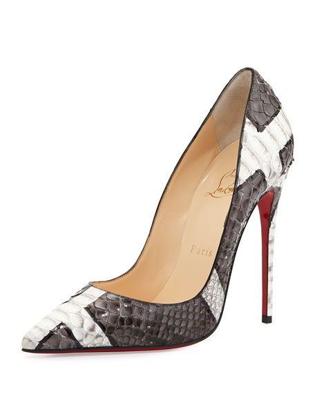 christian louboutin men sneakers - Christian Louboutin So Kate Python Red Sole Pump, Gray/White