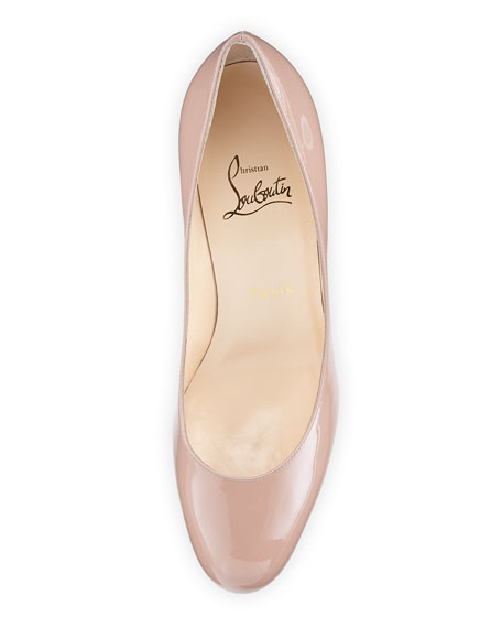 New Simple Patent Red Sole Pump, Nude