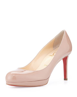 Christian Louboutin New Simple Patent Red Sole Pump, Nude