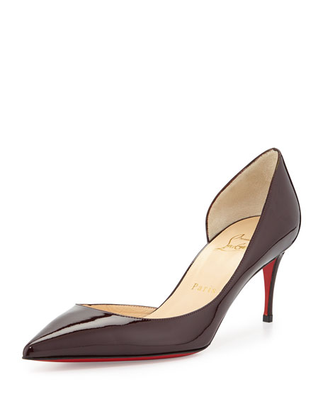 Iriza Patent Red-Sole Half-d'Orsay Pump, Burgundy