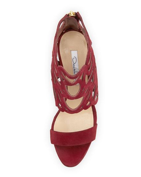 Cutout Suede Glove Sandal, Cardinal