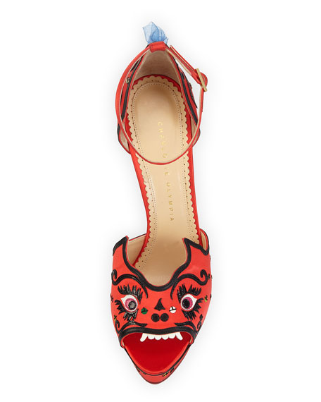 Martia Satin Dragon Sandal, Chinese Red