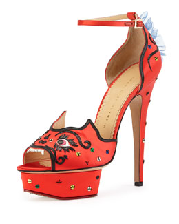 Charlotte Olympia Martia Satin Dragon Sandal, Chinese Red