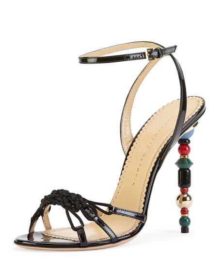 Imperial Patent Bead-Heel Sandal, Onyx