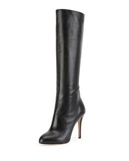 Charlotte Olympia Hannah Leather Knee Boot, Onyx
