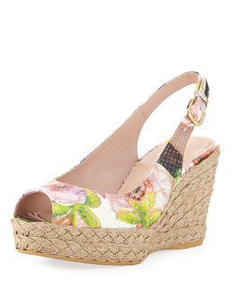 Stuart Weitzman Jean Floral Python Jute Wedge (Made to Order)