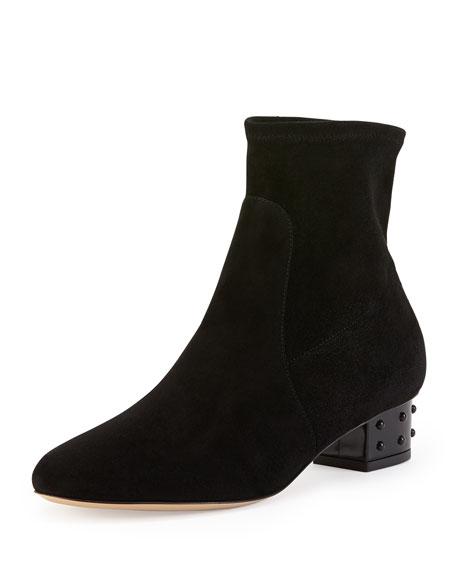 Winnie Stud-Heel Suede Ankle Boot, Onyx
