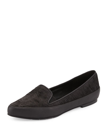Play Point-Toe Leather Slip-On, Black