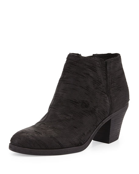 Great Textured Leather Ankle Boot, Black