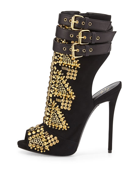 Golden Embellished Ankle-Wrap Bootie, Nero