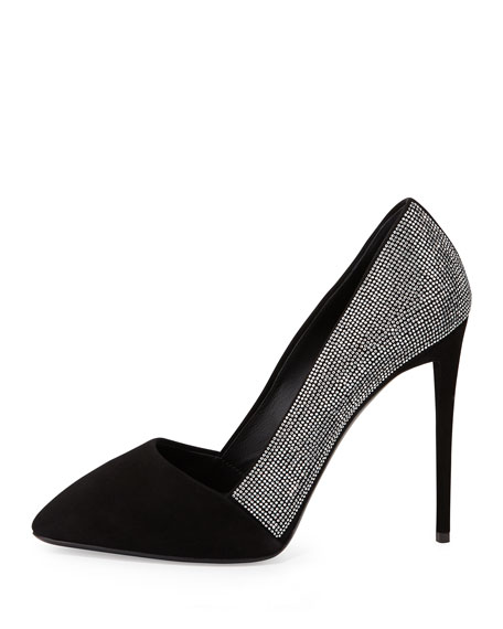Giuseppe Zanotti Crystal Embellished Pointed-Toe Pump, Black
