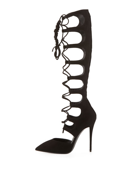 Pointy-Toe Lace-Up Knee-High Pump, Black
