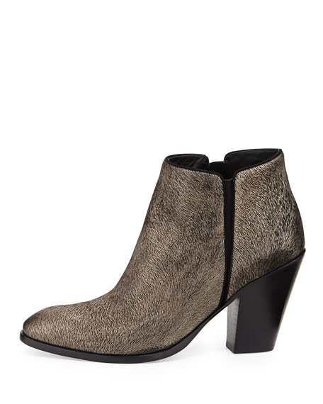 Metallic Textured Ankle Boot, Black/Gold
