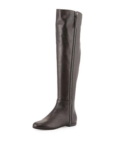 Giuseppe Zanotti Side-Zip Napa Leather Knee Boot, Black