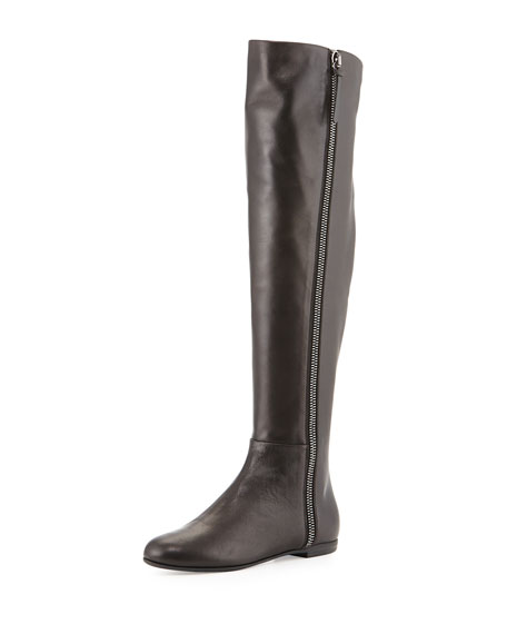 Side-Zip Napa Leather Knee Boot, Black