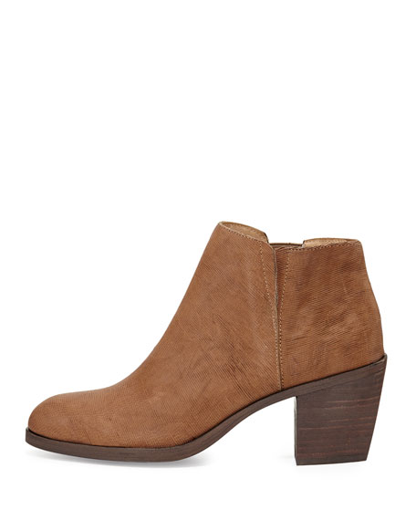 Great Textured Leather Ankle Boot, Dark Natural