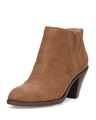 Eileen Fisher Great Textured Leather Ankle Boot, Dark Natural