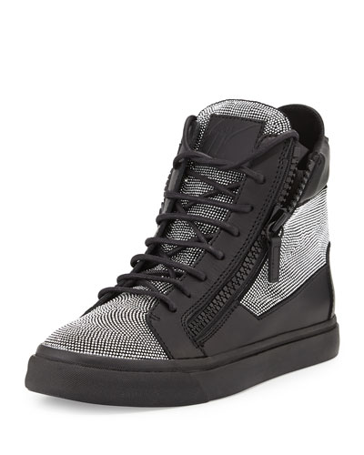 Giuseppe Zanotti Studded Leather High-Top Sneaker, Nero