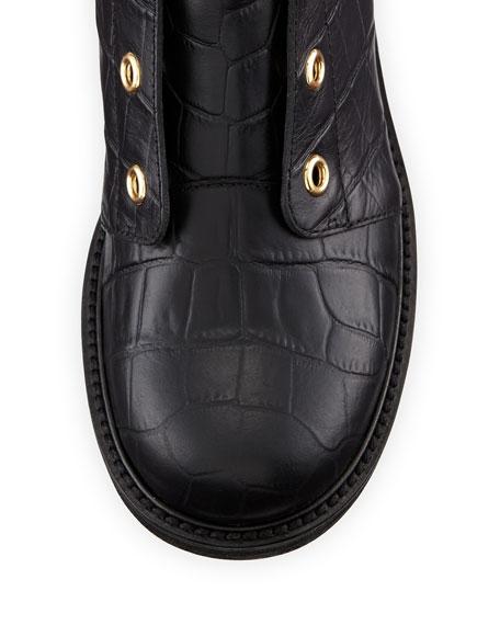 Giuseppe Zanotti Croc-Embossed Leather Moto Boot, Nero