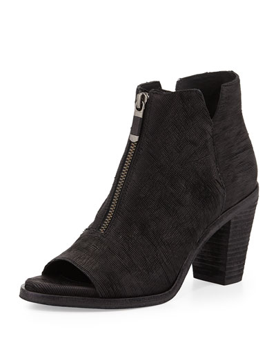 Eileen Fisher Clique Leather Peep-Toe Bootie, Black