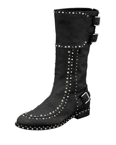 Laurence Dacade Baltazar Stud Buckle Mid-Calf Boot, Black/Ruthenium