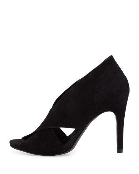 Serenity Suede Crisscross Sandal, Black