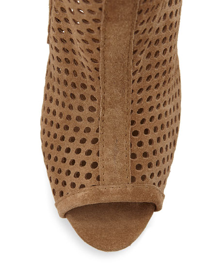 Sylvana Perforated Peep-Toe Bootie, Tan