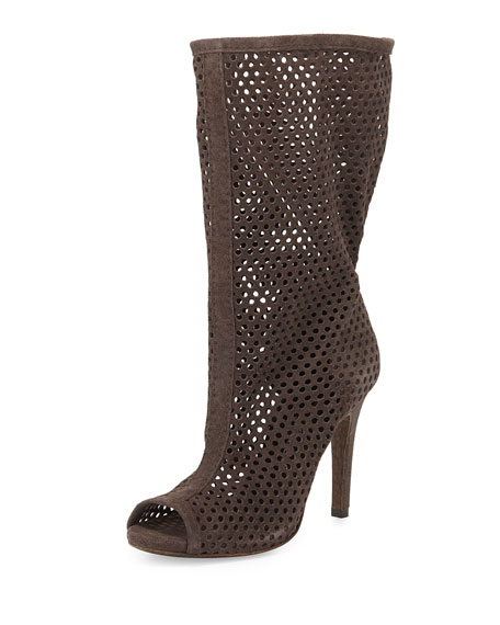 Sira Perforated Peep-Toe Mid-Calf Boot