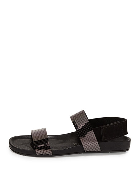 Adelyn Suede Sandal, Black/Pewter