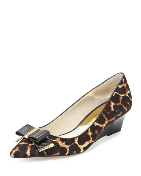 Kiera Calf-Hair Mid-Wedge Pump