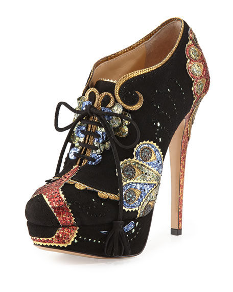 Charlotte Olympia Orient Express Lace-Up Bootie, Black