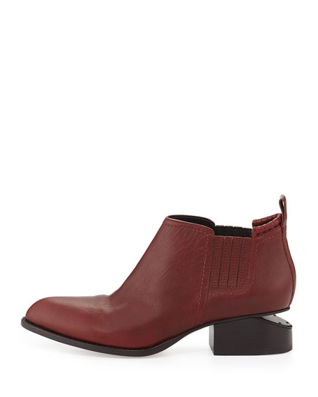 Kori Leather Lift-Heel Ankle Boot, Blood Orange