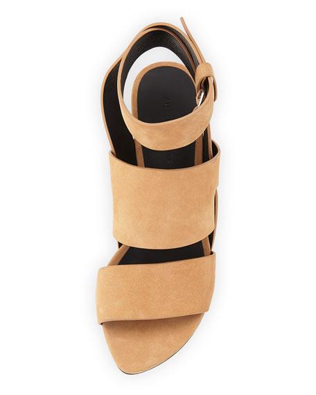 Katya Chunky-Heel Nubuck Sandal, Camel