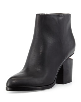 Alexander Wang Gabi Tumbled Leather Lift-Heel Ankle Boot, Black