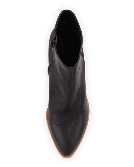 Gabi Lizard-Embossed Lift-Heel Bootie, Black