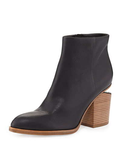 Alexander Wang Gabi Lizard-Embossed Lift-Heel Bootie, Black